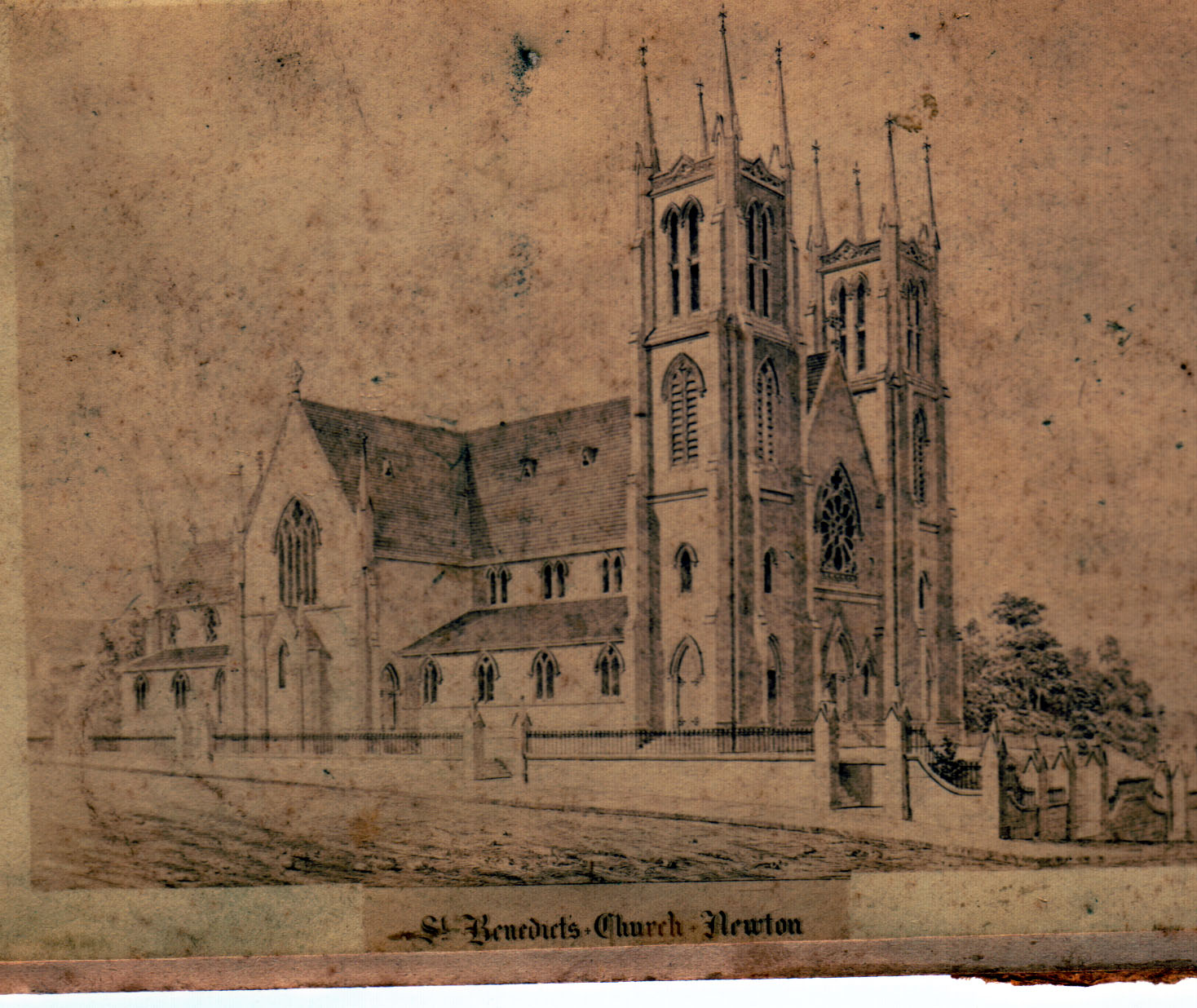 The first St Benedict's church 1881-1886.